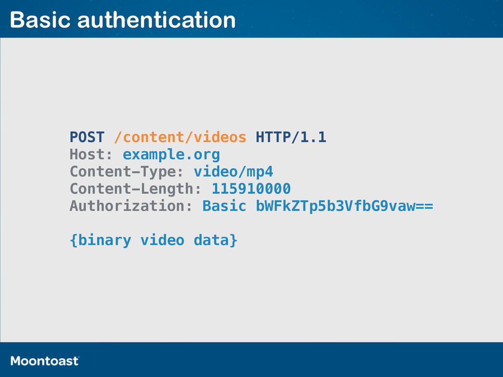 Basic authentication POST /content/videos HTTP/...