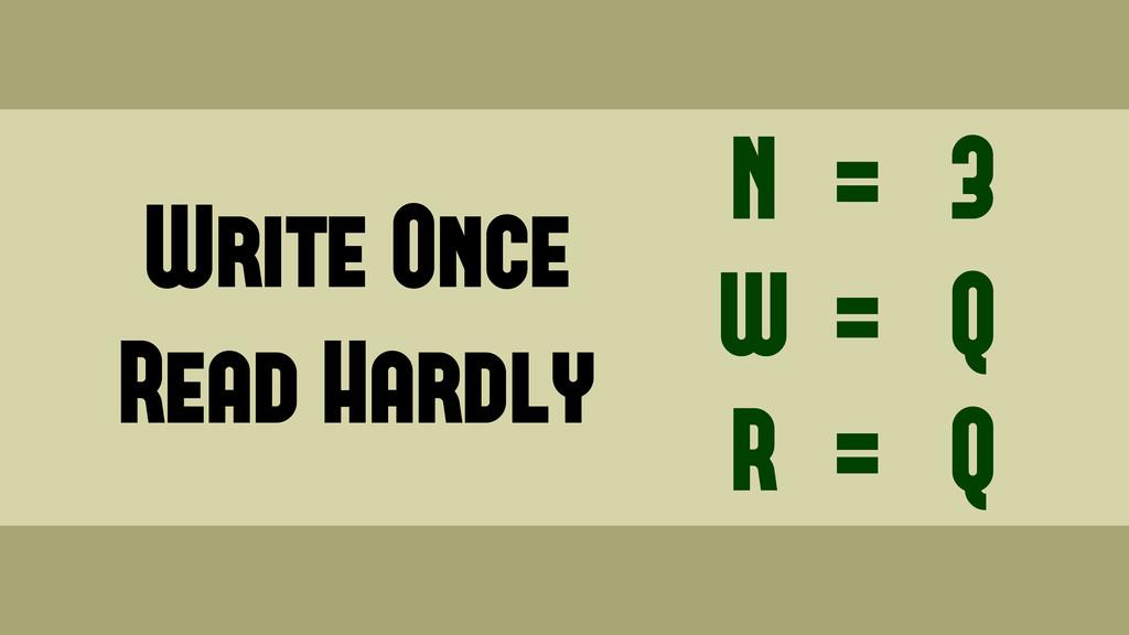 Write Once Read Hardly N W R = = = 3 Q Q Wednes...