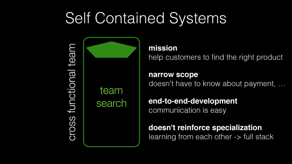 Self Contained Systems team search cross functi...