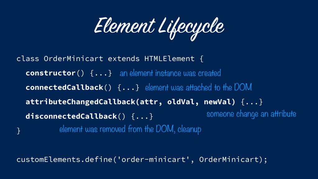 Element Lifecycle class OrderMinicart extends H...