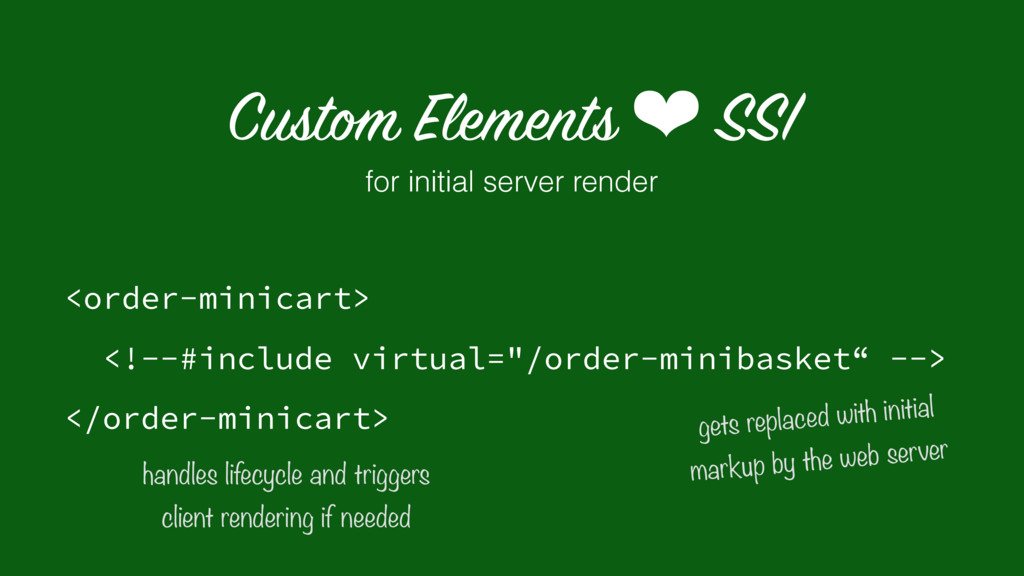 Custom Elements ❤ SSI <order-minicart>