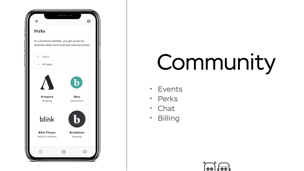 Community • Events • Perks • Chat • Billing