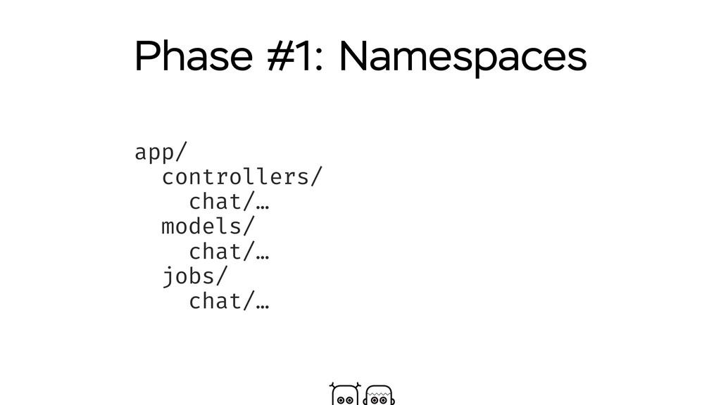 Phase #1: Namespaces app/ controllers/ chat/… m...