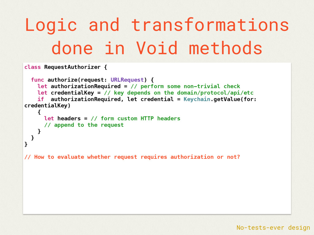 Logic and transformations done in Void methods ...