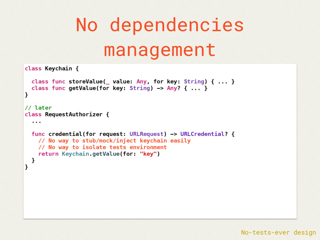 No dependencies management class Keychain { cla...