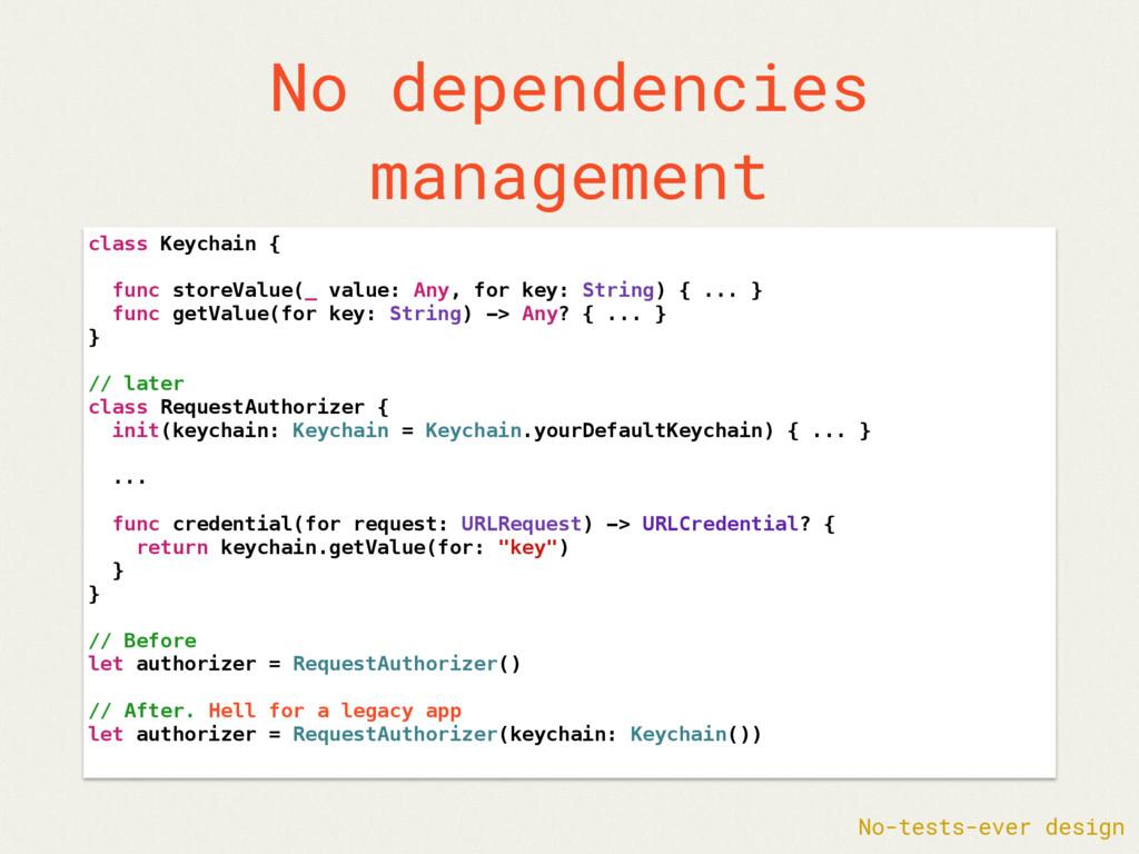 No dependencies management class Keychain { fun...