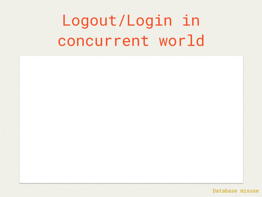 Logout/Login in concurrent world Database misuse