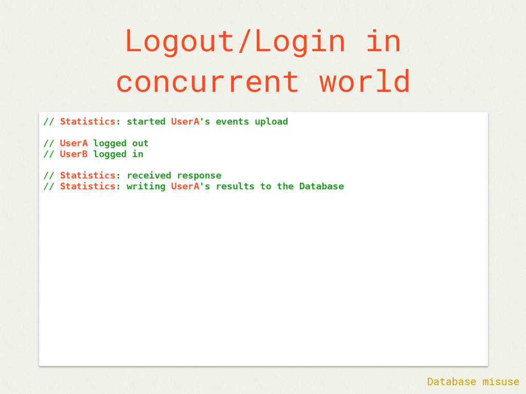 Logout/Login in concurrent world // Statistics:...