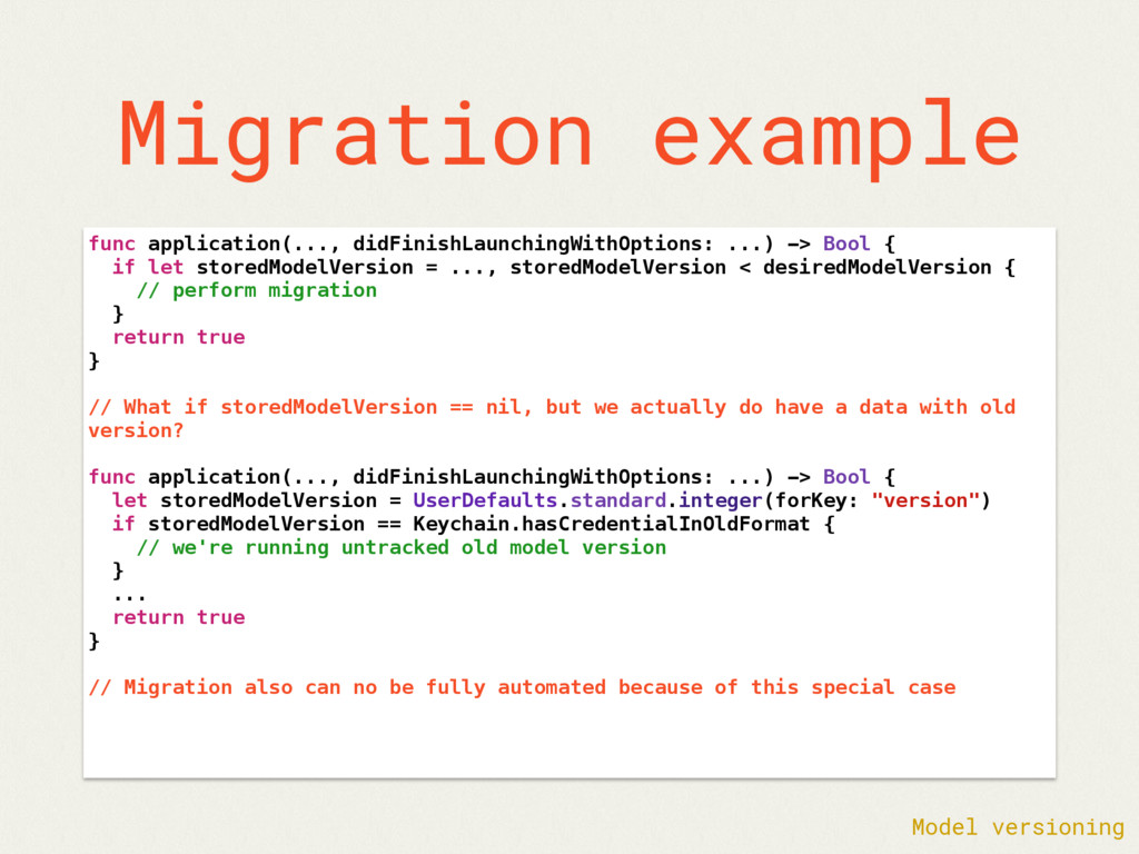Migration example func application(..., didFini...