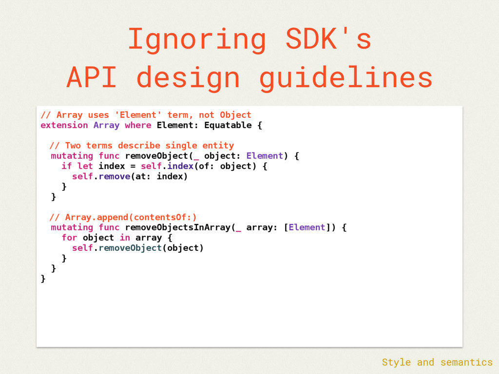 Ignoring SDK's API design guidelines // Array u...