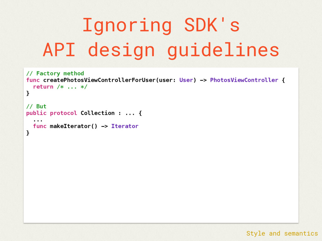 Ignoring SDK's API design guidelines // Factory...