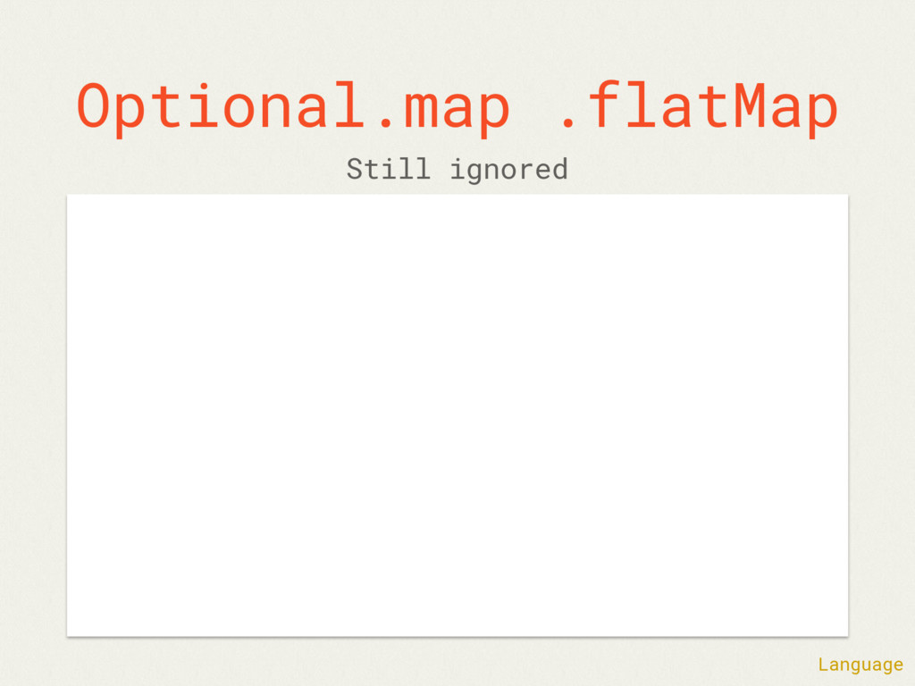Optional.map .flatMap Still ignored Language