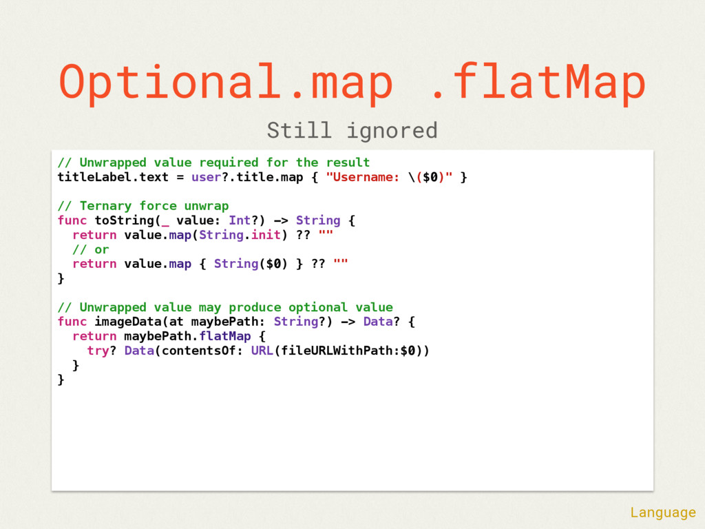Optional.map .flatMap // Unwrapped value requir...