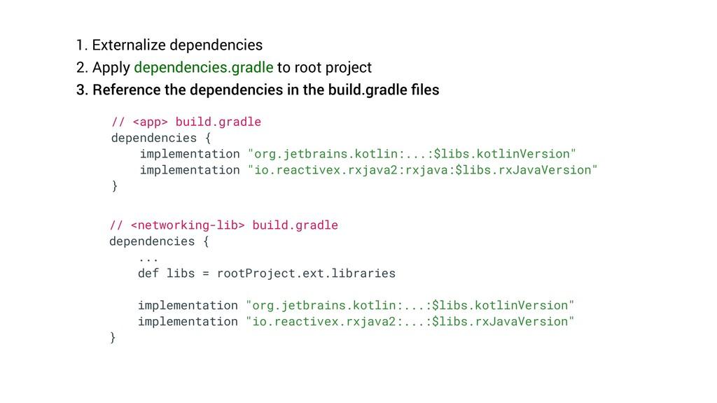1. Externalize dependencies 2. Apply dependenci...