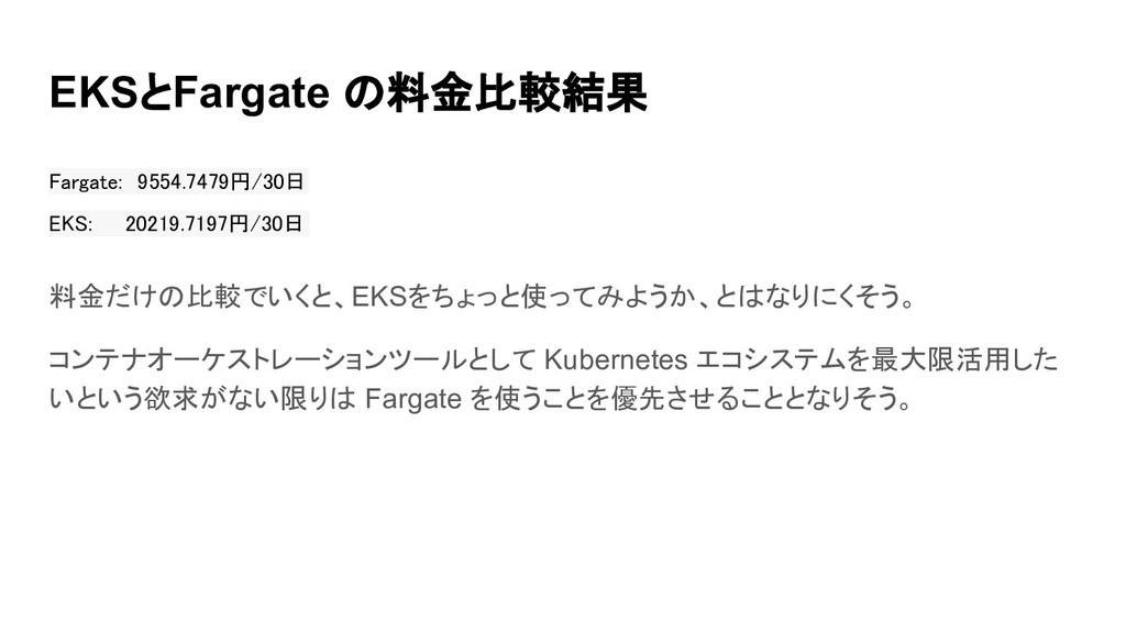 EKSとFargate の料金比較結果 Fargate: 9554.7479円/30日 EK...