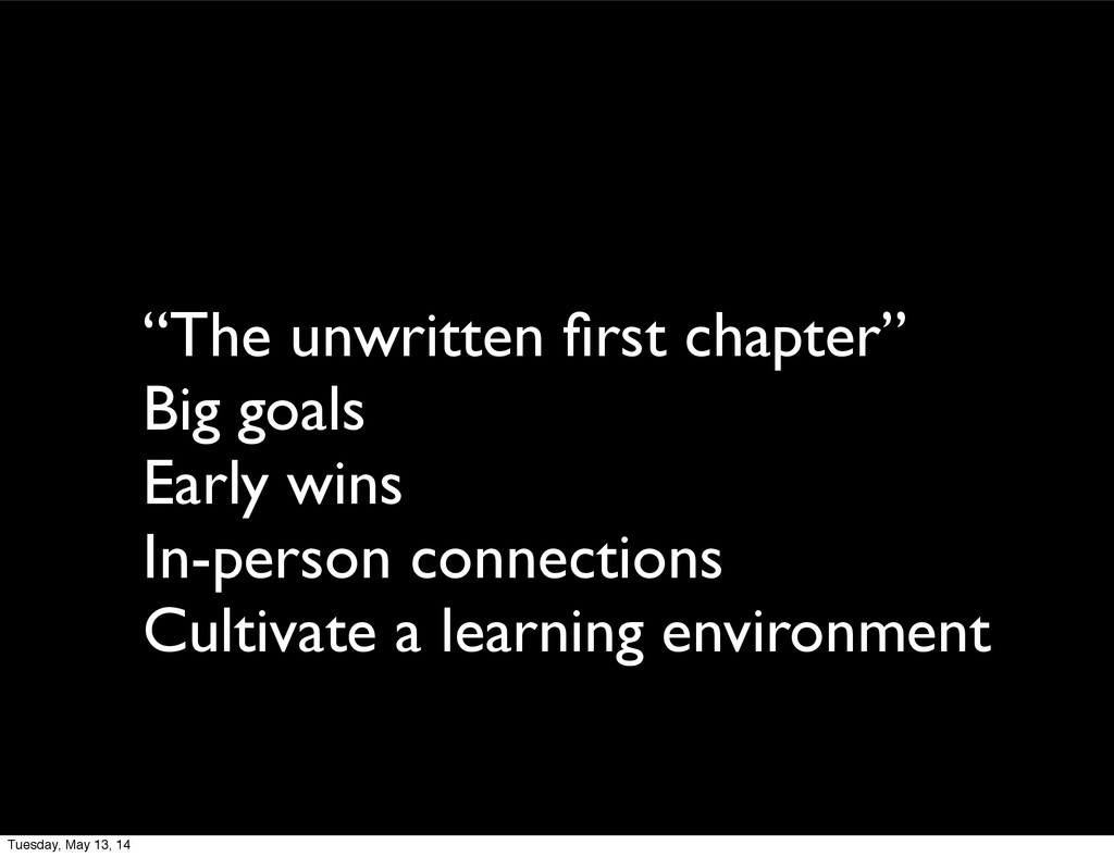 """""""The unwritten first chapter"""" Big goals Early wi..."""