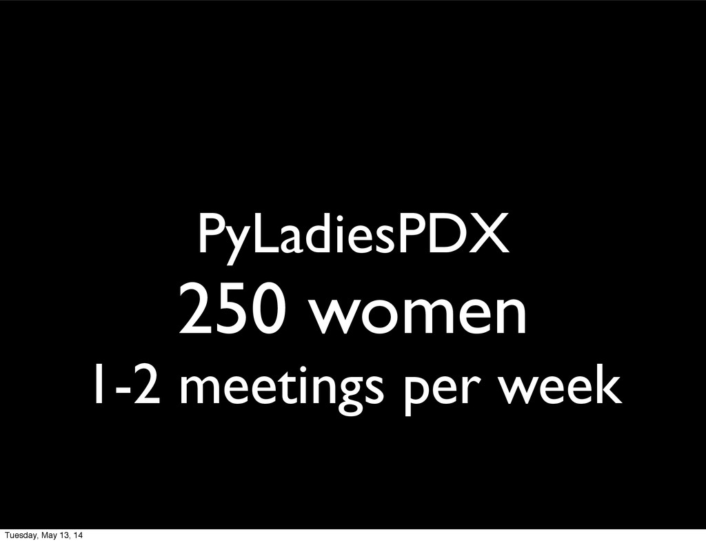PyLadiesPDX 250 women 1-2 meetings per week Tue...