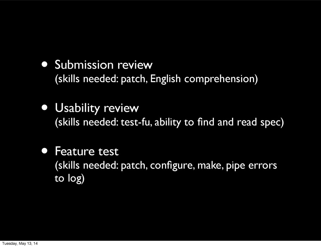 • Submission review (skills needed: patch, Engl...
