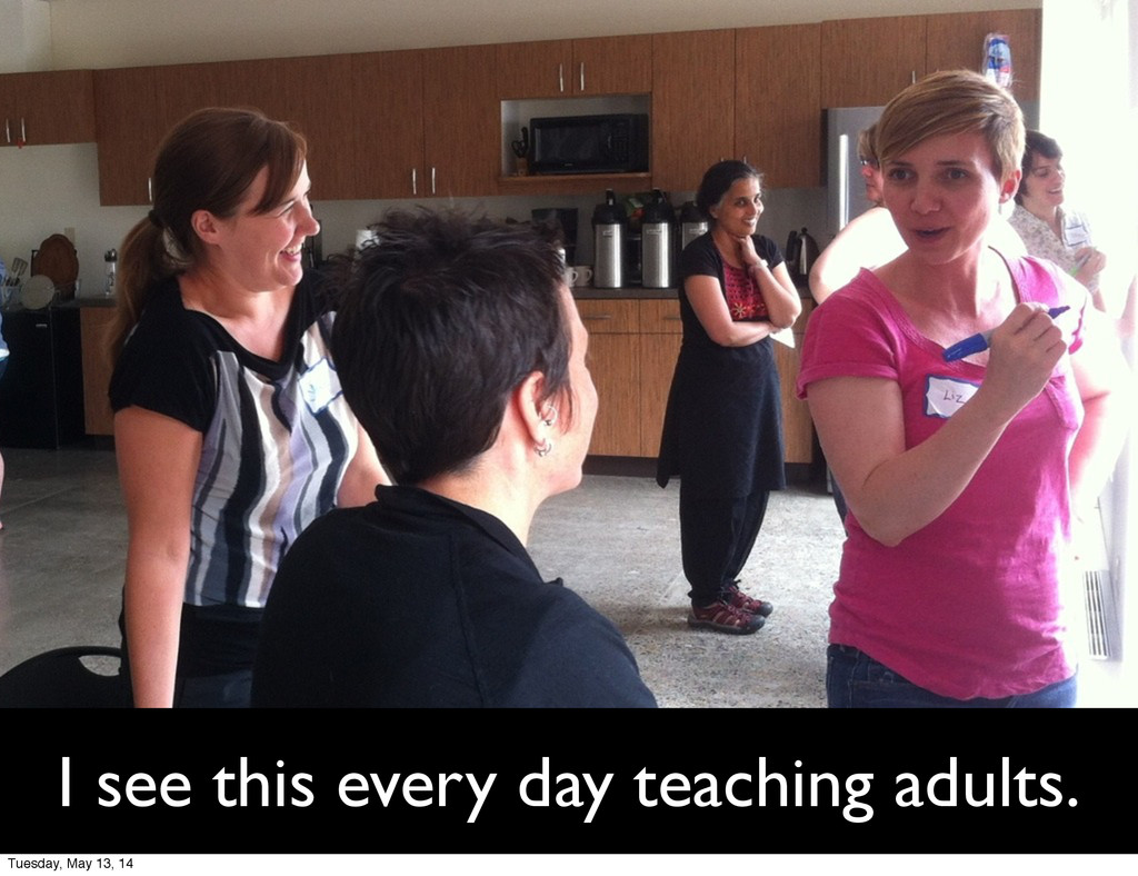 I see this every day teaching adults. Tuesday, ...