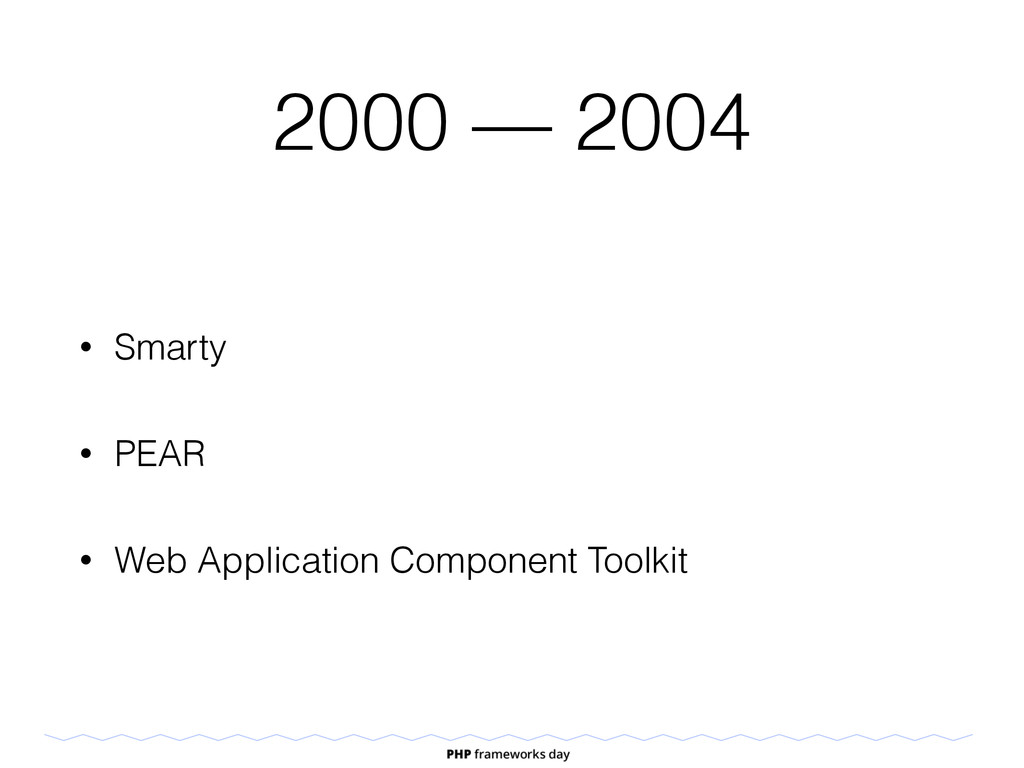 2000 — 2004 • Smarty • PEAR • Web Application C...