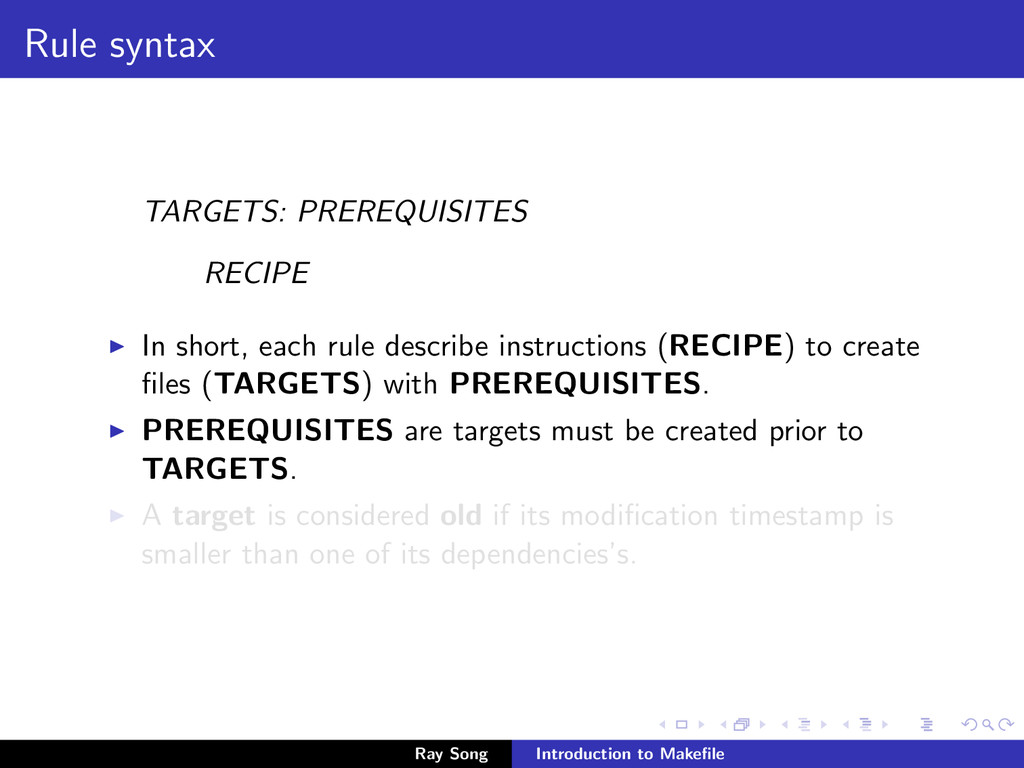 Rule syntax TARGETS: PREREQUISITES RECIPE In sh...