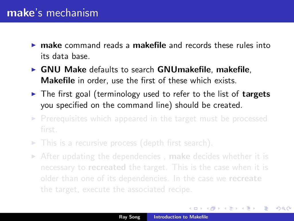 make's mechanism make command reads a makefile a...