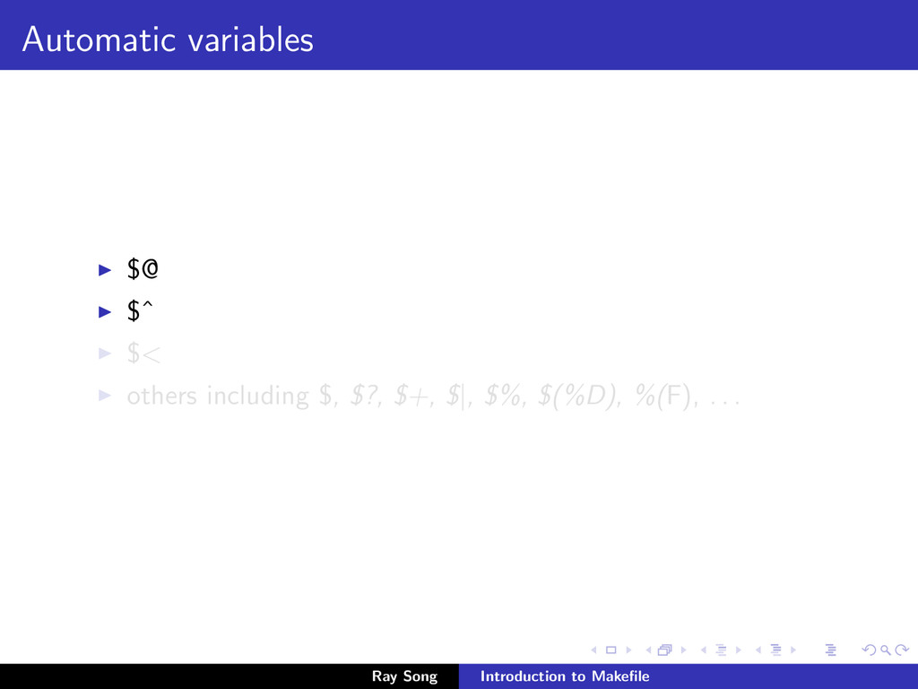 Automatic variables $@ $ˆ $< others including $...