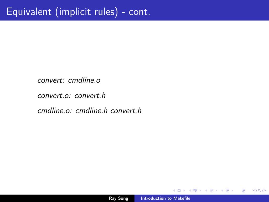 Equivalent (implicit rules) - cont. convert: cm...