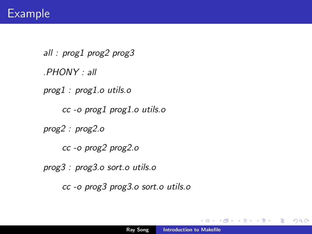 Example all : prog1 prog2 prog3 .PHONY : all pr...