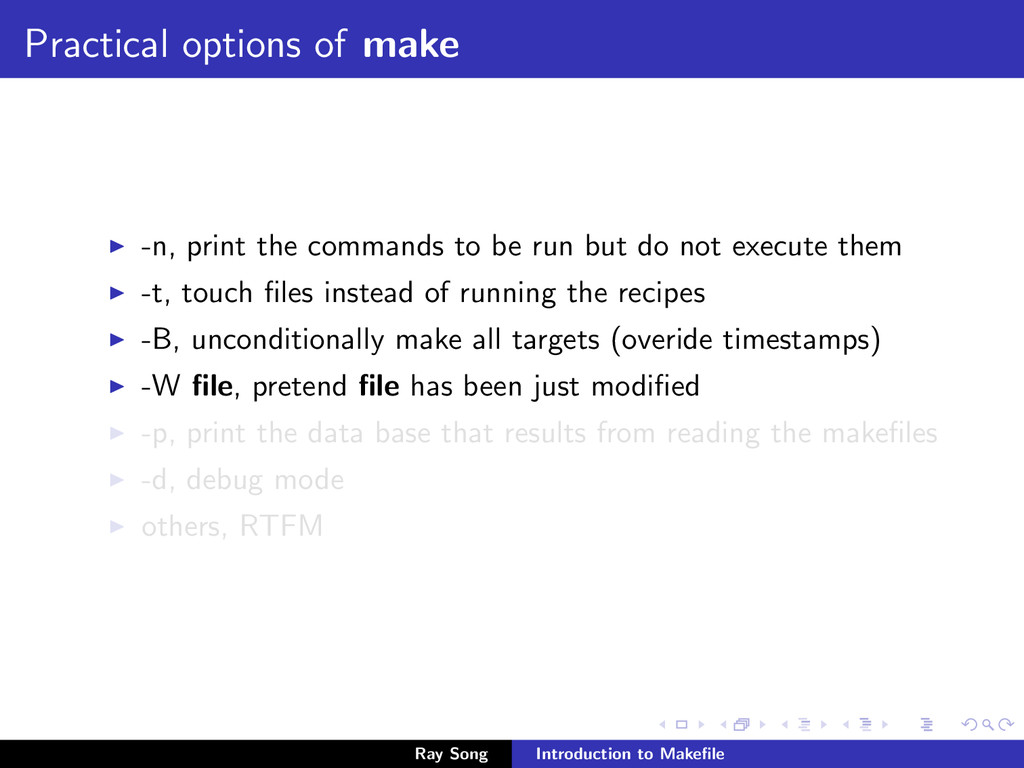 Practical options of make -n, print the command...