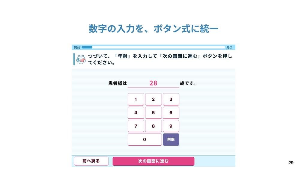 29 数字の⼊⼒を、ボタン式に統⼀