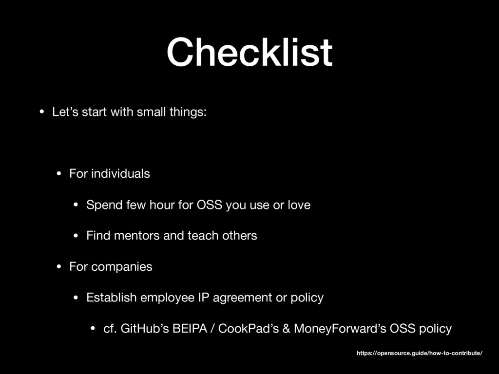 Checklist • Let's start with small things:  • F...