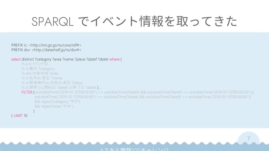 7 SPARQL でイベント情報を取ってきた PREFIX ic: <http://imi.g...