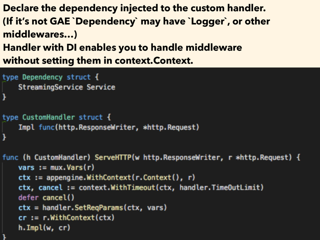 Declare the dependency injected to the custom h...
