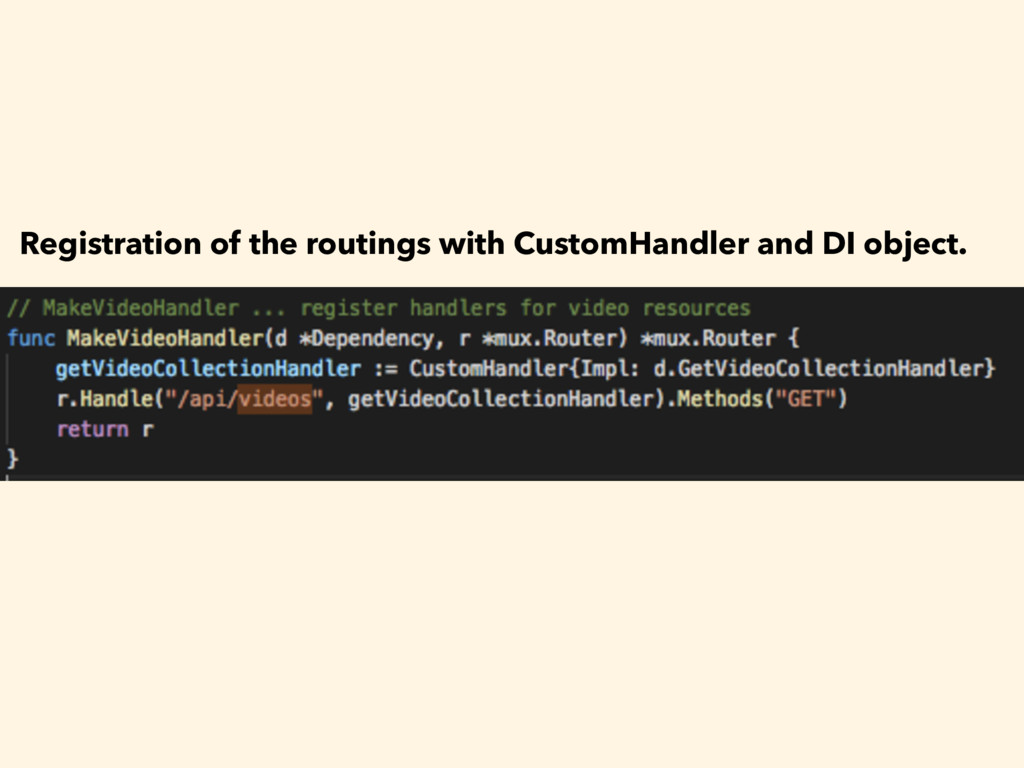 Registration of the routings with CustomHandler...