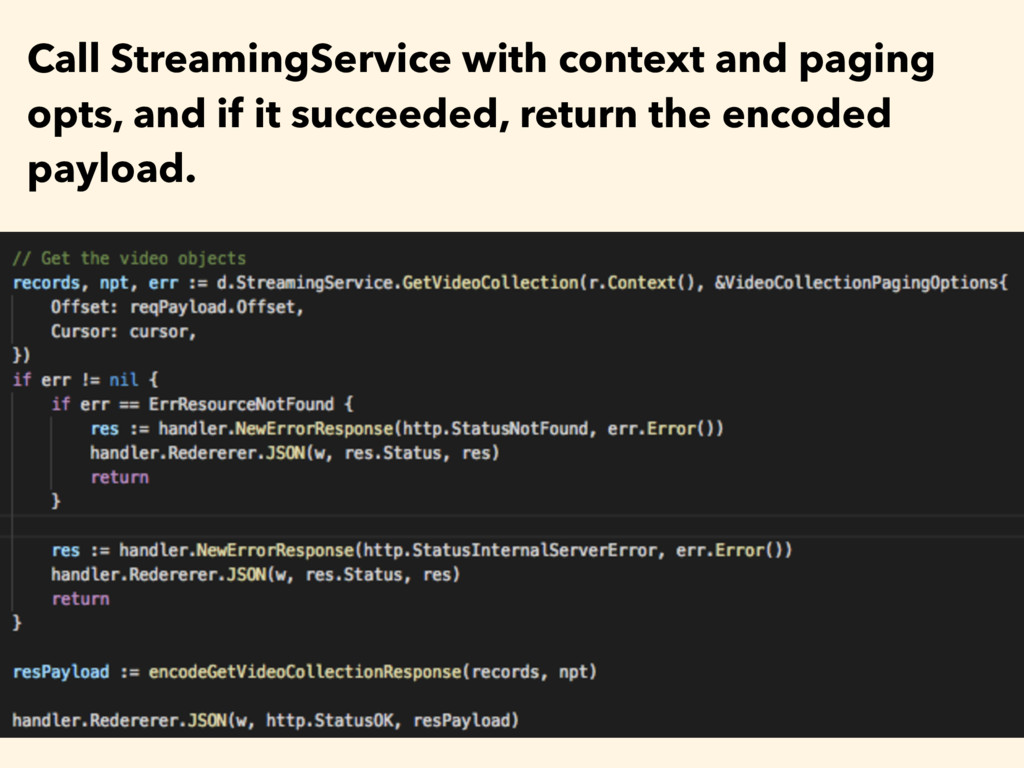 Call StreamingService with context and paging o...