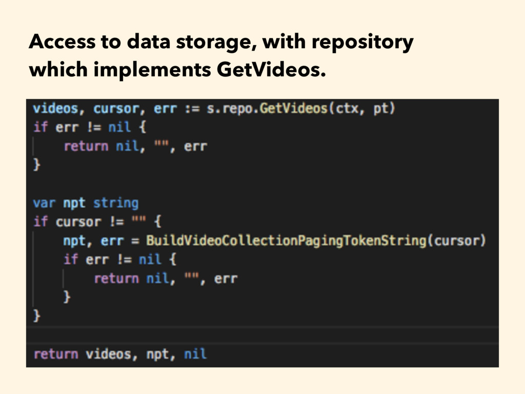 Access to data storage, with repository 
