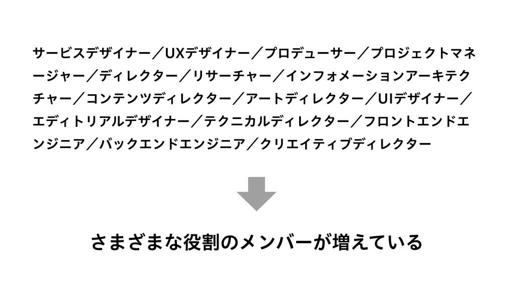 さまざまな役割のメンバーが増えている サービスデザイナー/UXデザイナー/プロデューサー/プロ...