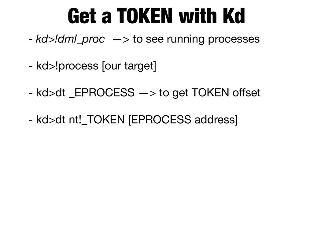 Get a TOKEN with Kd - kd>!dml_proc —> to see ru...