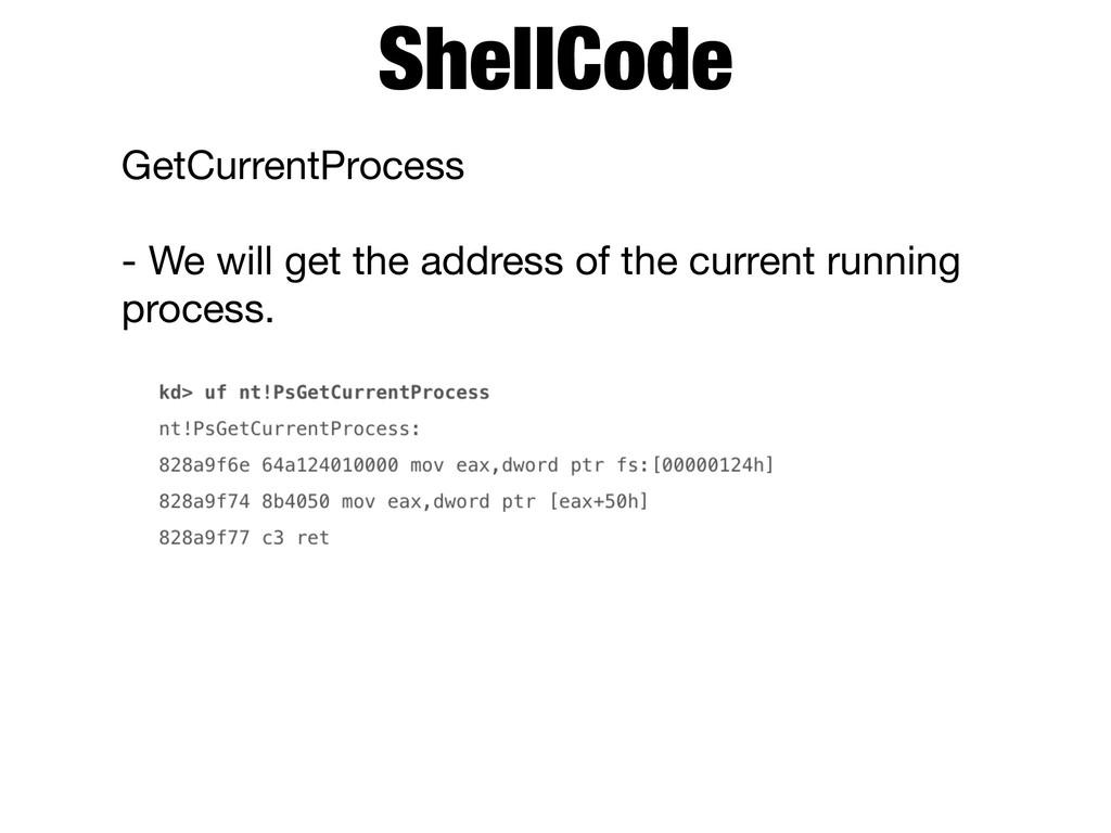 GetCurrentProcess  - We will get the address of...