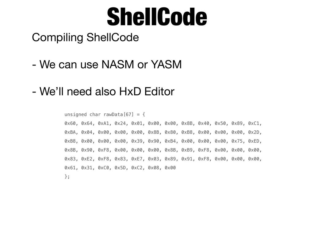 Compiling ShellCode  - We can use NASM or YASM ...