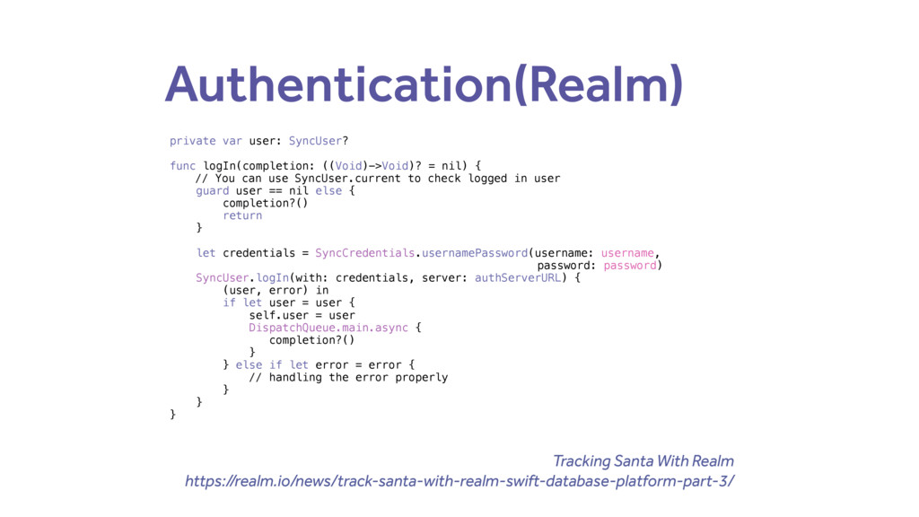 Authentication(Realm) private var user: SyncUse...