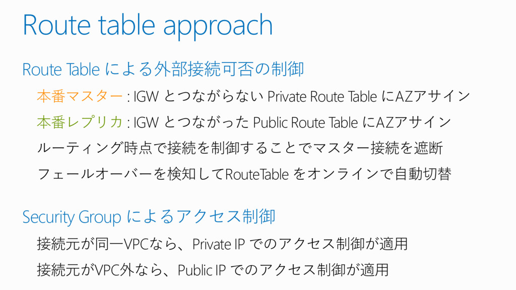 Route table approach Route Table による外部接続可否の制御 本...