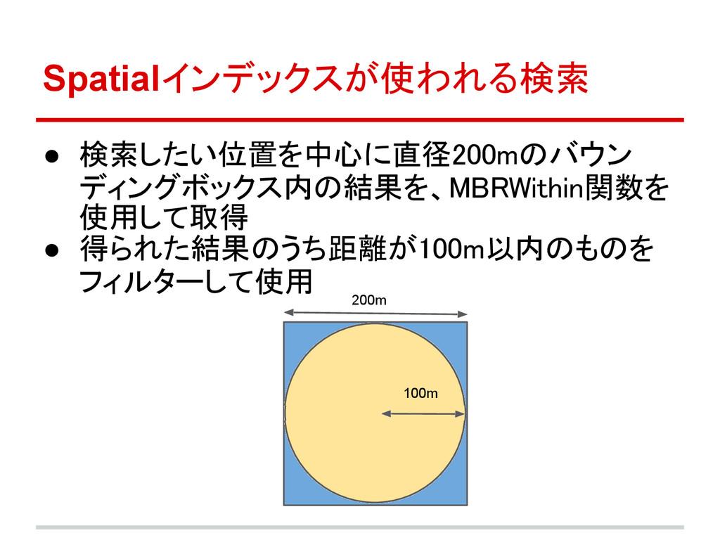 Spatialインデックスが使われる検索 ● 検索したい位置を中心に直径200mのバウン ディ...