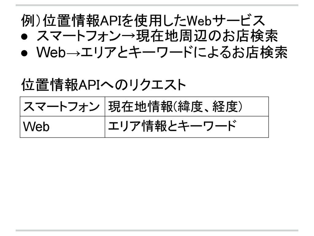 例)位置情報APIを使用したWebサービス ● スマートフォン→現在地周辺のお店検索 ● We...