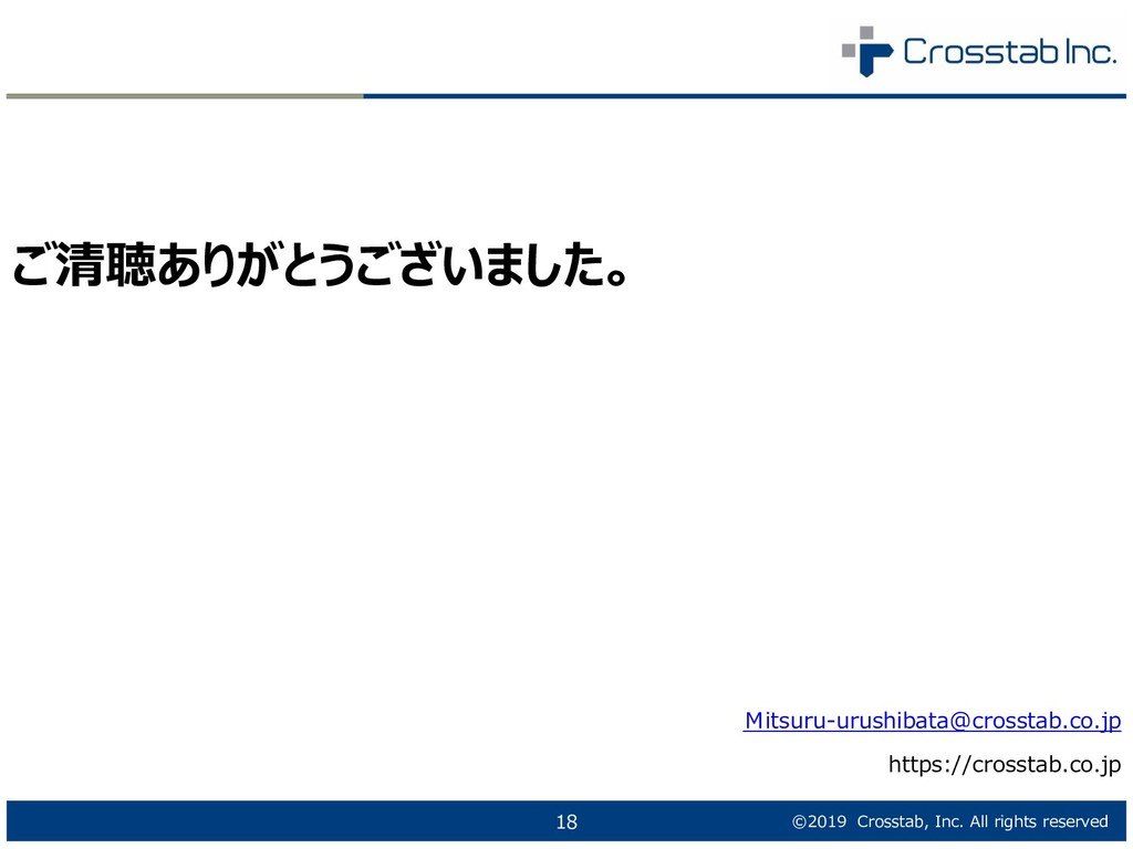 ©2019 Crosstab, Inc. All rights reserved 18 ご清聴...