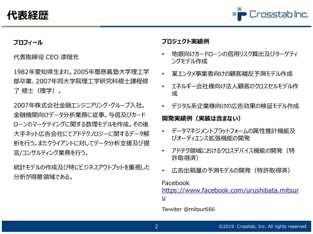 ©2019 Crosstab, Inc. All rights reserved 代表経歴 2...