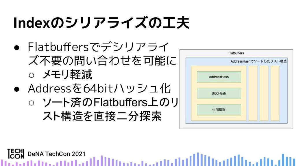 ● Flatbuffersでデシリアライ ズ不要の問い合わせを可能に ○ メモリ軽減 ● Add...
