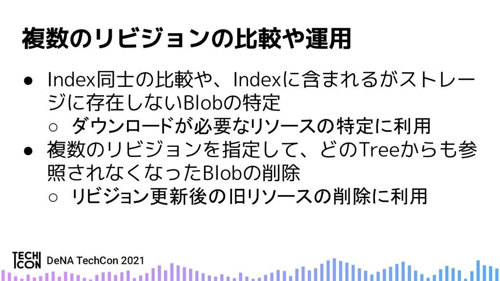 ● Index同士の比較や、Indexに含まれるがストレー ジに存在しないBlobの特定 ○ ...