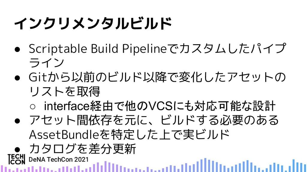 ● Scriptable Build Pipelineでカスタムしたパイプ ライン ● Git...